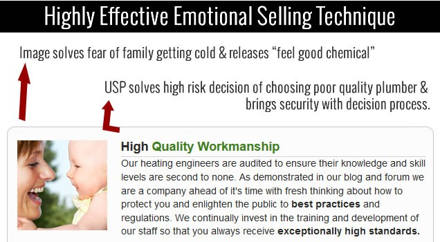 emotional selling with website design
