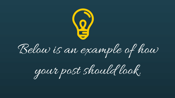 An example of your post