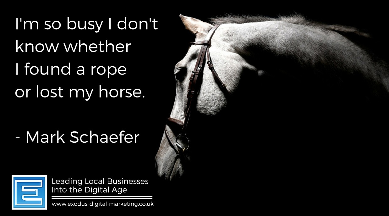 I'm so busy I don't know whether I found a rope or lost my horse. - Mark Schaefer