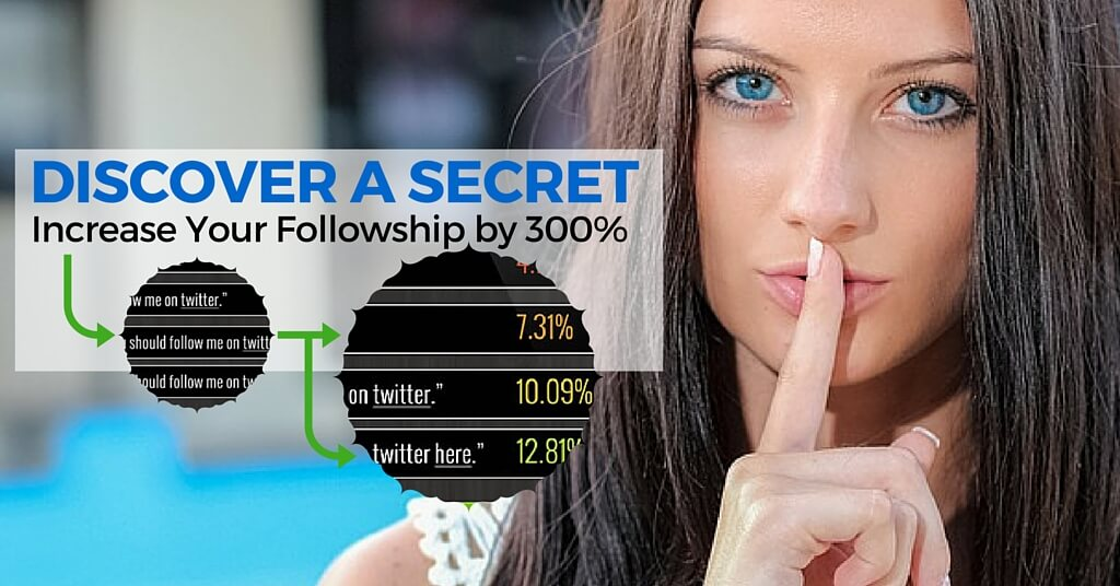 "A women with finger over lips, 'shhhh'. Caption, ""Discover a secret; increase your follow-ship by 300%"""