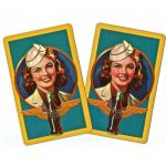 Image of vintage cocacola playing card. 1950's Military women.