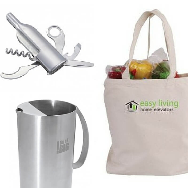 Images of promotional product marketing gifts. Image of easy living take canvas bag, think big! pitcher, and modern wine key.