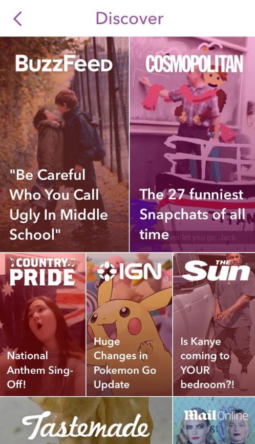 Image of Snapchat Discover Section