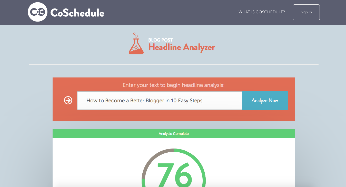 Use coschedule to generate headline ideas for posts- website displayed in image