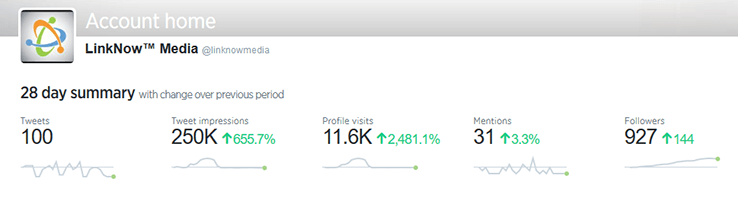 Image for LinkNow Media's Twitter Analytics Account Overview
