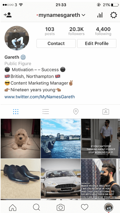 Image of Gareth O'Sullivan instagram profile: Growth Hack your Instagram Account
